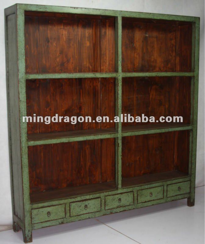 antikes altes gr nes b cherregal des faches des chinesen. Black Bedroom Furniture Sets. Home Design Ideas