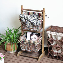 Paper rope woven hanging baskets with wooden shelf
