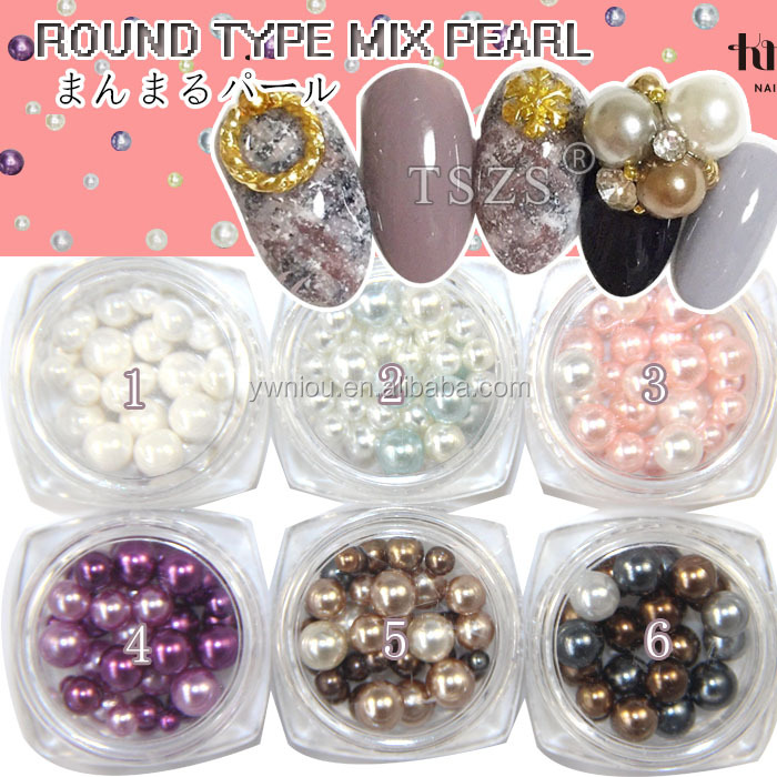 high-grade round type nail art 3D decoration color pearl mix