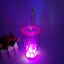 Light up Double Wall Glitter plastic tumbler with lid and straw