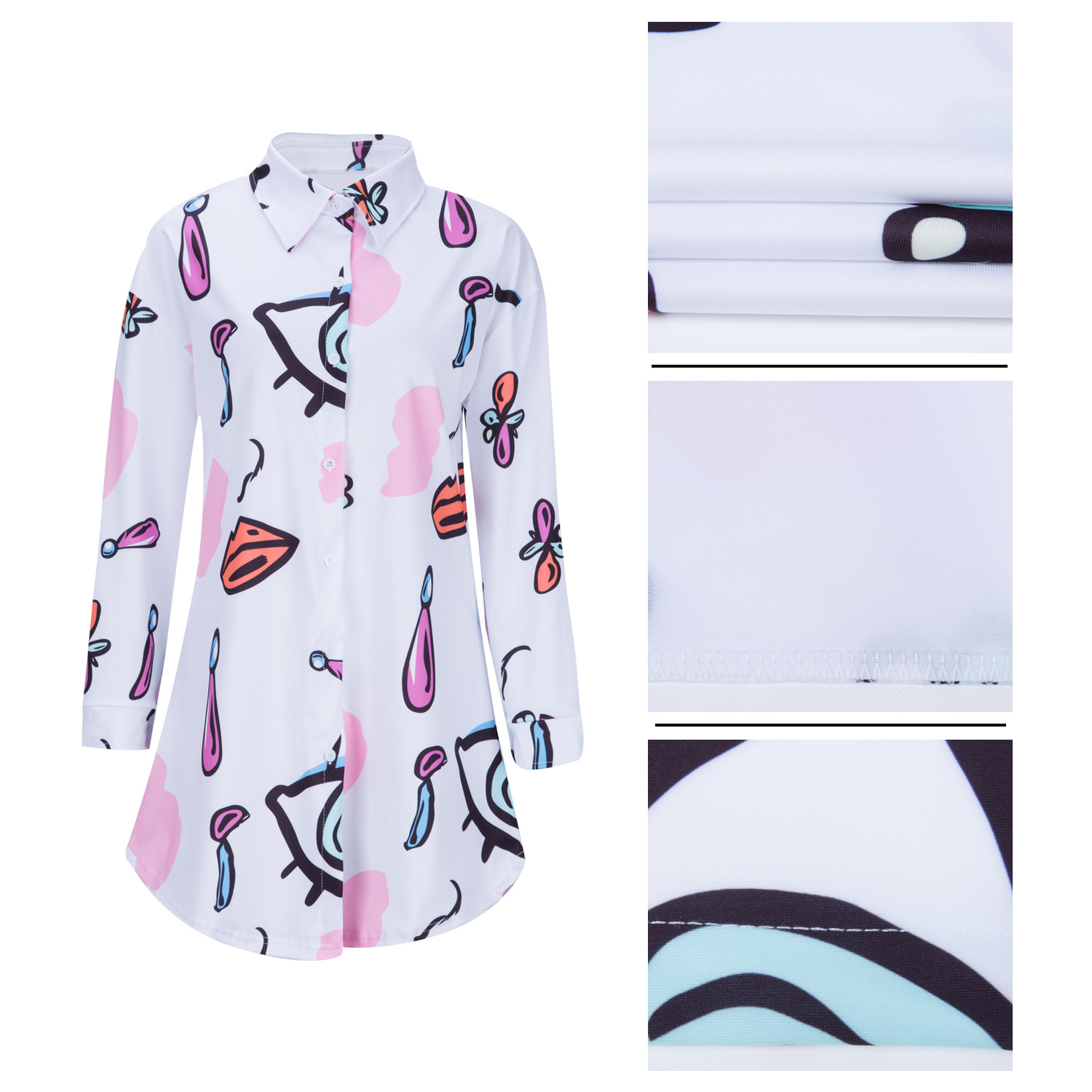 wholesale Club Party long sleeve Graffiti printed Button Down women casual shirt dress