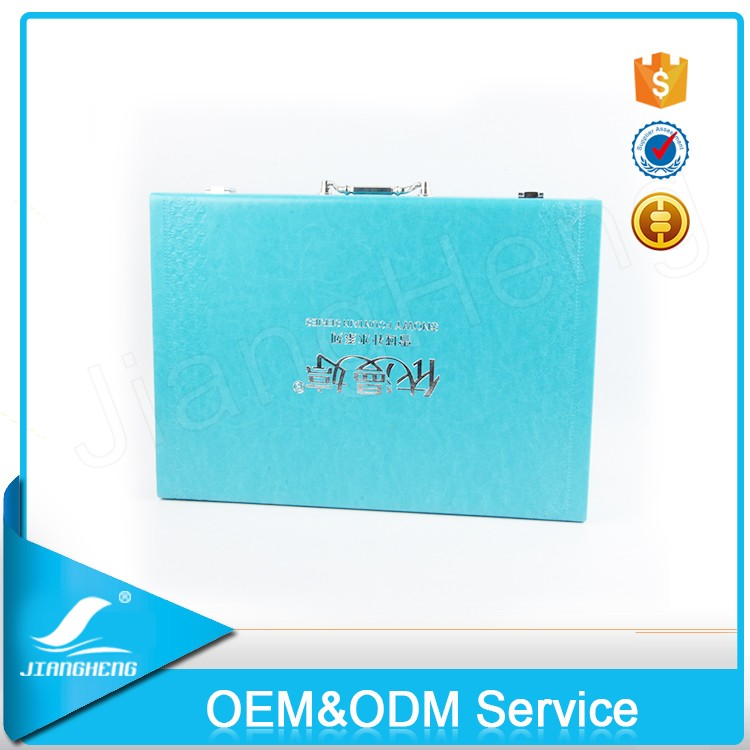 Customized Tiffany Blue Color Leather Custom Packaging Box