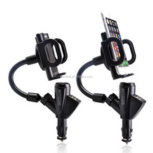 Dual USB 2 ports charger car Cigarette Lighter mount Car Charger Mobile Phone Stand Holder For Phone6 6s 7 7blus Smartphone GPS