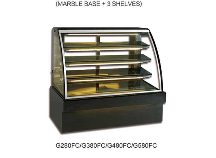 Curved glass showcase mini cake refrigerator display