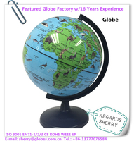 6 inch Medium Plastic World Globe Animal Map