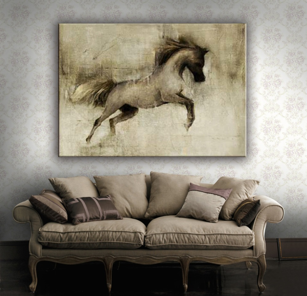 Beautiful sketch running horse decoration canvas painting for home decorate