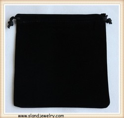 Handmade fashion custom jewelry pouch,8*10cm classic black gift bag