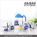 7pcs fruit juice drinking glass set Deli water drinking set with blue flower printing