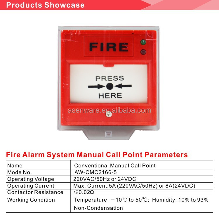 Conventional Fire Manual Call Point Break Glass AW-CMC2166-5
