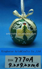 Christmas tree hanging green ceramic ball decoration