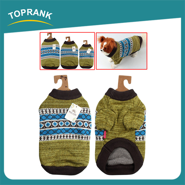 Fashion design pattern green knitted dog sweater winter pet clothes