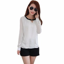 Fashion Women Shirt Belt Neck Long Sleeve Keyhole Button Formal Casual Blouse Tops White