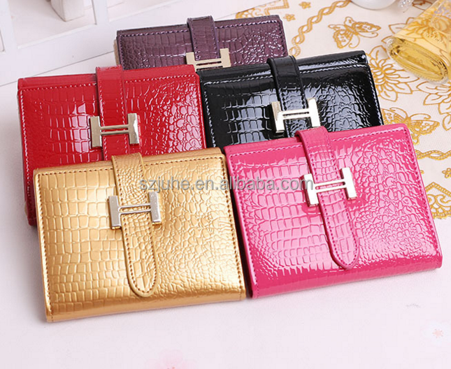 Hot sale!! crocodile skin women short wallet genuine cowhide leather wallet ladies