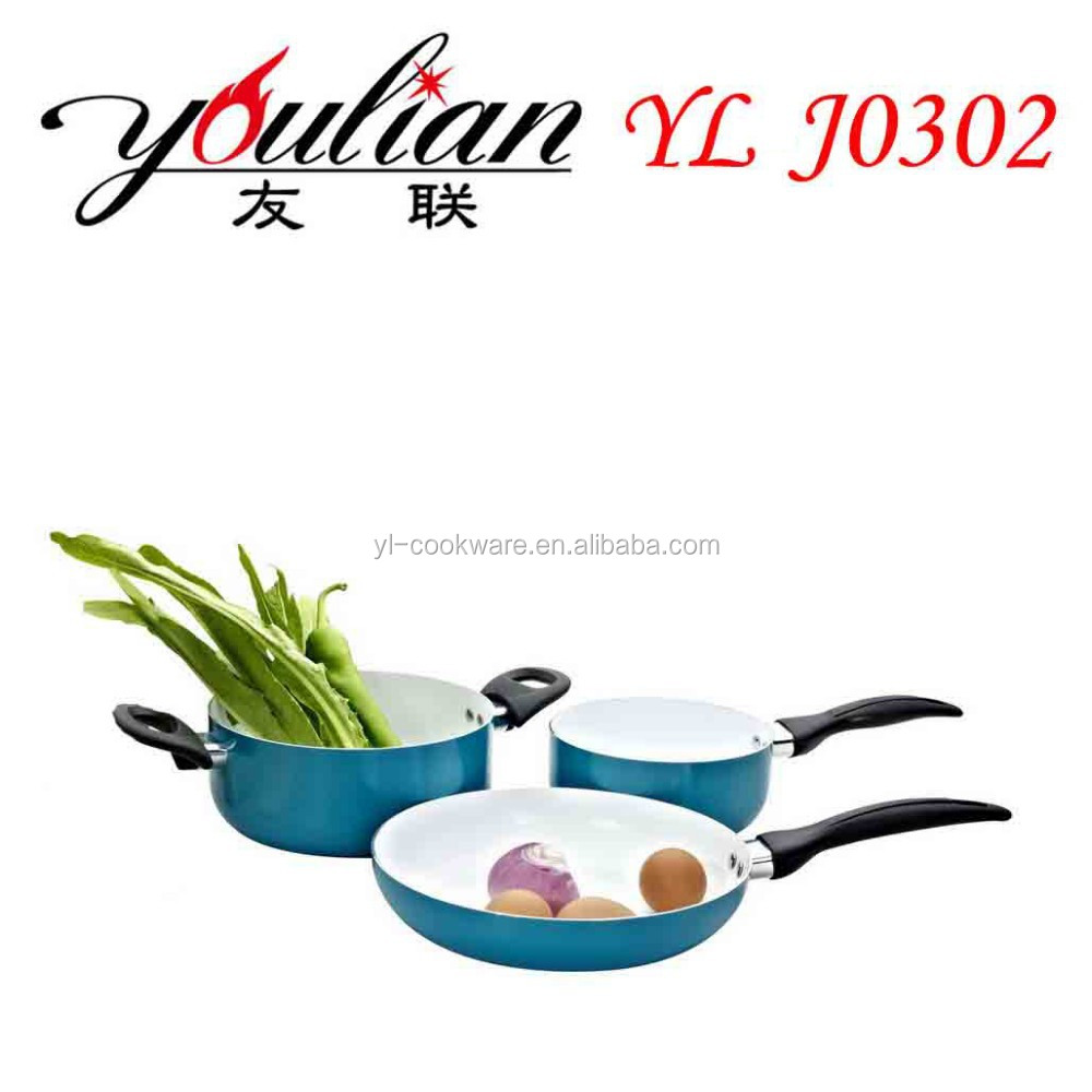 kitchen appliances 2016 wholesale new products 3pcs aluminum ceramic nonstick stylish multi cookware set china housewares