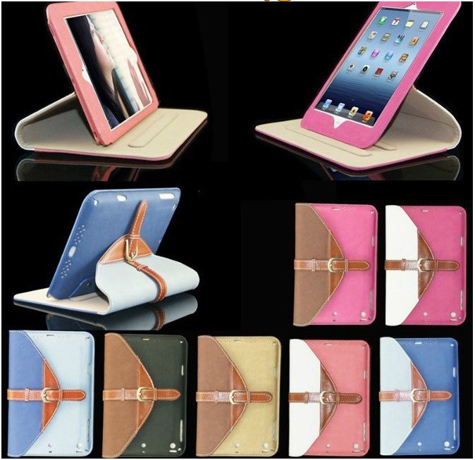Contrast Colors Leather Case For iPad 4 Housing / Newest Envelop Pouch For iPad 4 New Case / For iPad 4 Shockproof Case