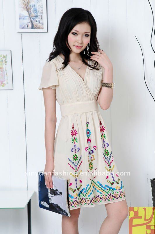 2013 Chiffon embroidery ladies fashion dresses