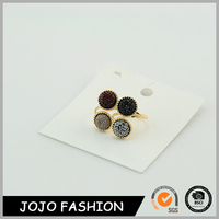 Wholesale unique design jewelry gold color natural stone couple ring for wedding
