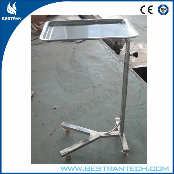 China BT-SMT001cheap hospital stainless steel surgical instrument stand, medical mayo table tray with manual controlled height