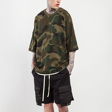 Hot selling Mens plus size poping fitness half sleeves oversized camo printed t-shirt