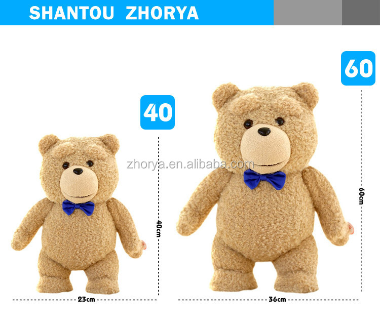 HQ battery operated 1:1 simulation hollywood movie TED 2 teddy bear plush stuffed animal toys with speaking talking & recording