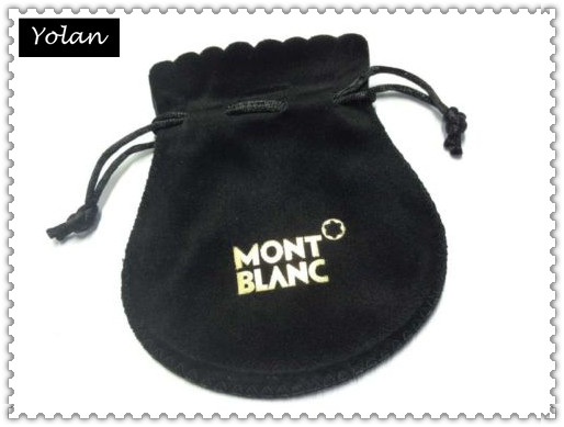 Black Velvet Pouch With Silver Logo