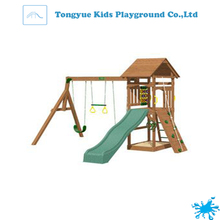 factory direct outdoor children palyground climbing frame for fun kids wooden swing and slide set
