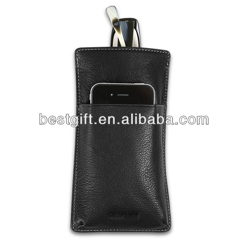 hot sale genuine leather case eyewear, used as glasses bag as well as phone bag, convenient design