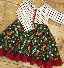 Girls Christmas Stocking Print Dress Kids Polk Dots Long Sleeve Twril Dress