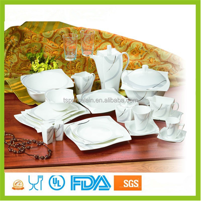 modern melamine bone china 75pcs square dinnerware dinner set