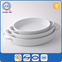 Factory Price Creative White Oval Ceramic Ramekin With Handle