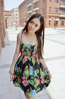 WH41 2015 summer the latest fashion in Europe and America elastic waist dress