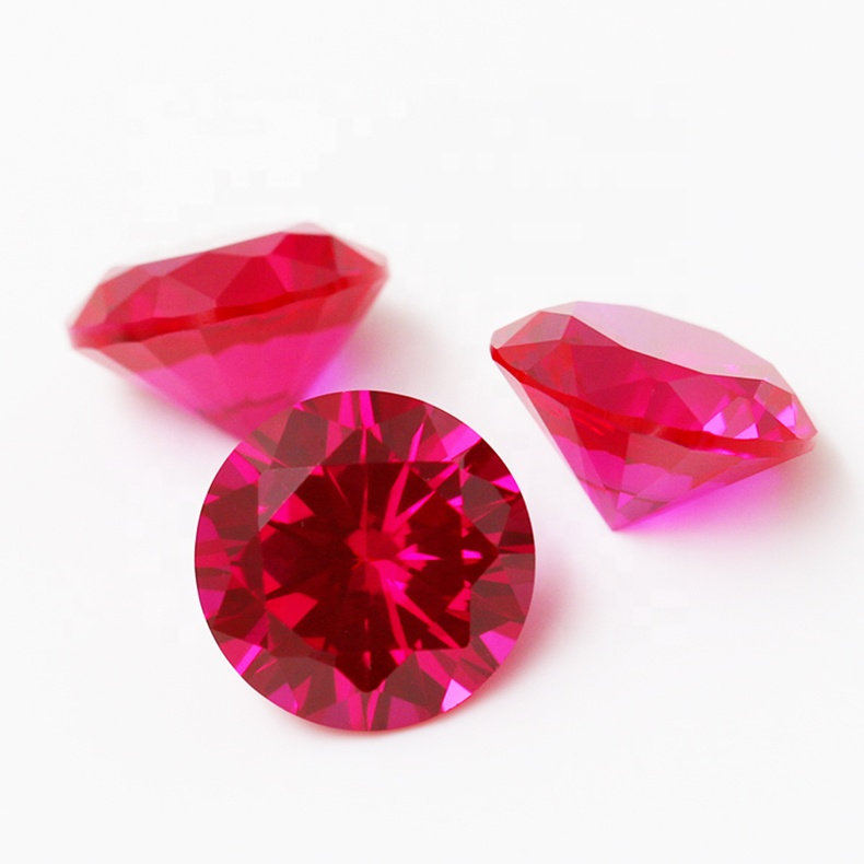 Synthetic Red Courndum Round Brilliant <strong>Cut</strong> 5# Ruby Stone Price Per Carat