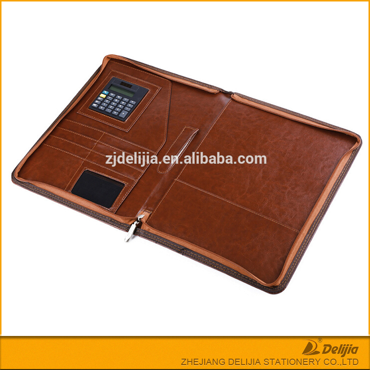 Diary covers A5 work useful leather zipper pocket portfolio