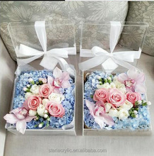 Square clear acrylic sweet flower box for wedding, home decoration, gifts