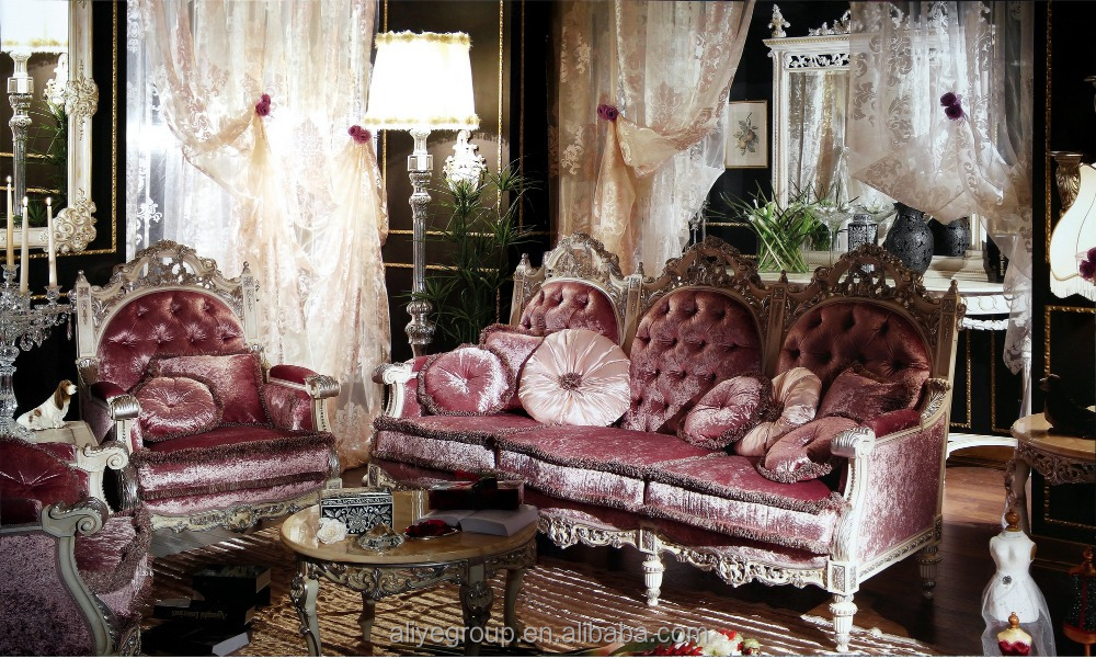 AS1603- dubai classic italian antique living room furniture fabric combination sofa with solid wood