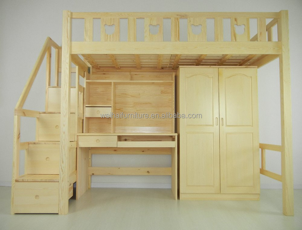Wood Children Bunk Bed With Study Table and Wardrobe