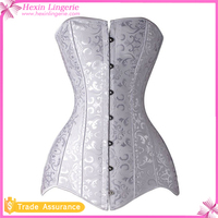 New Arrival White Floral 26 Steel Bones Cincher Locking Corset