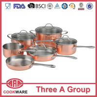 3-fly Copper stainless steel kicthenware sets cooper cooking pots cookware