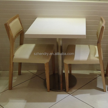 2015 modern two seater square imitation marble table andh chair set