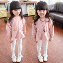 Children Girls Sweet Pink Long Sleeve Tops Wholesale Hot Sellers Solid Color Tops
