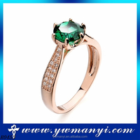 Diamond Engagement Princess 14k Gold Simple Green Crystal Ring R453