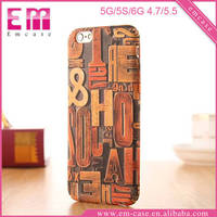 Retro Wood Stylus Plastic Cell Phone Case For iPhone 5/6/6 Plus Mobile Covers