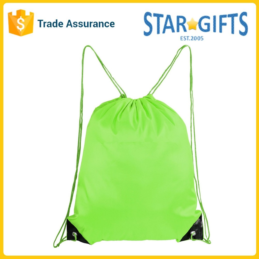 New Products 2017 Spring Green High Quality Polyester Small Drawstring Bag For Sport