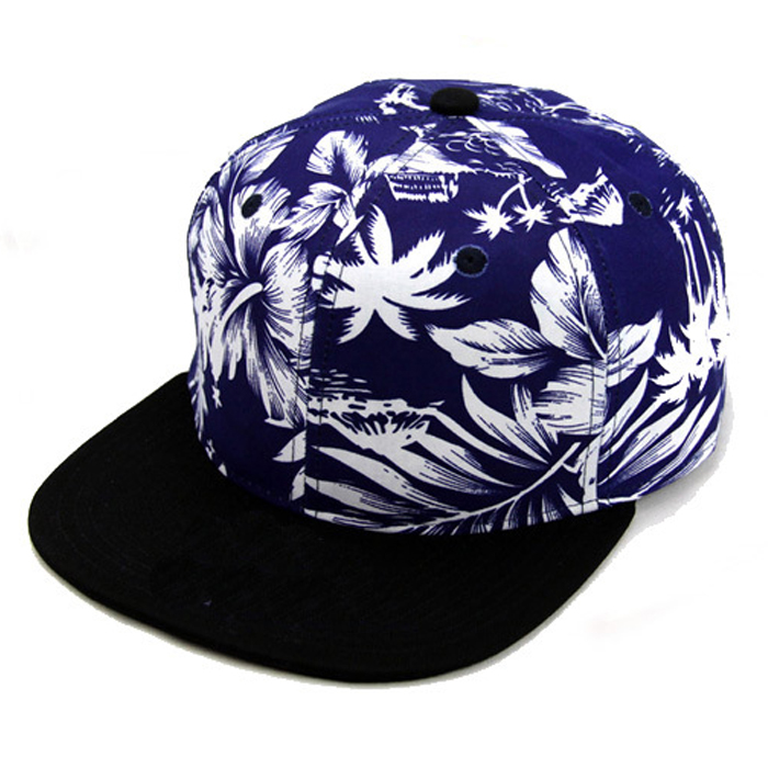 Hawaiian Floral Flower Hat Flat Brim Snapback Hat , Multi-Color Snapback Hats Wholesale , Floral Flat Brim Custom Snapback Hat