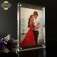 JINBAO Transparent Acrylic Crystal Magnet Desktop Photo Picture Display Show Holder Stand Frame
