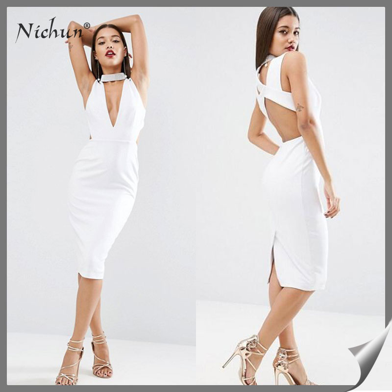 2016 Latest Fashion Sexy V Neck High Neck Girls Night Midi Dress Photos Sexy Pictures Of Girls Without Dress