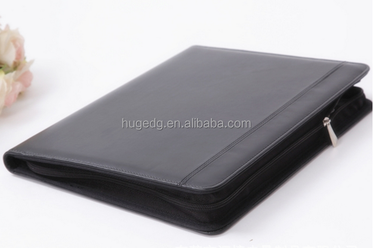 Professional high-end Factory Customized zip around soft pu leather portfolio