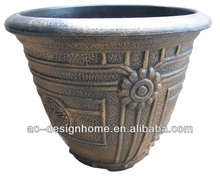 BRONZE EMBROSSED CLASSIC PATTERN ROUND BLOW MOLD PLASTIC STACKABLE FLOWER POT
