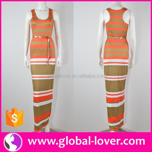 wholesale women's stylish latest fashion orange stripe long maxi dresses