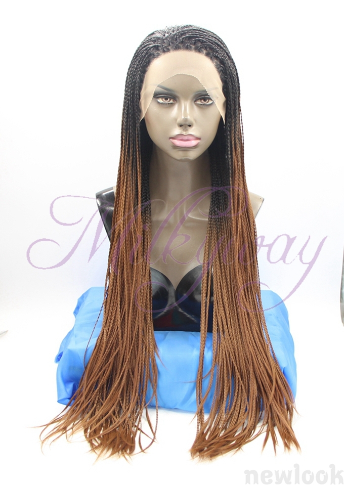 free shipping 1b and brown Braided Lace Front Wigs Long For Black grey Women Hand Braided Synthetic Hair Micro Braided Wigs